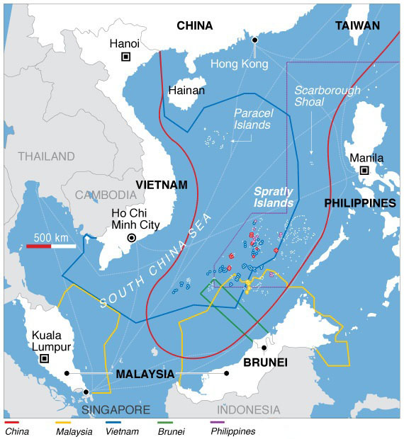 South China sea claim map