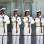 Sailors aboard the Chinese Navy destroyer Qingdao; US Navy/David Rush
