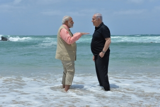 Modi and Netanyahu on Olga Beach