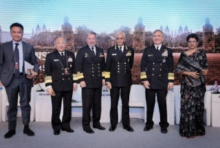 Quad Admirals on stage at the Raisina Dialogue